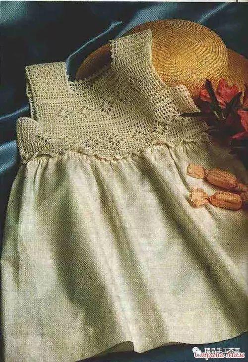 钩布结合的童裙,钩针部分简单