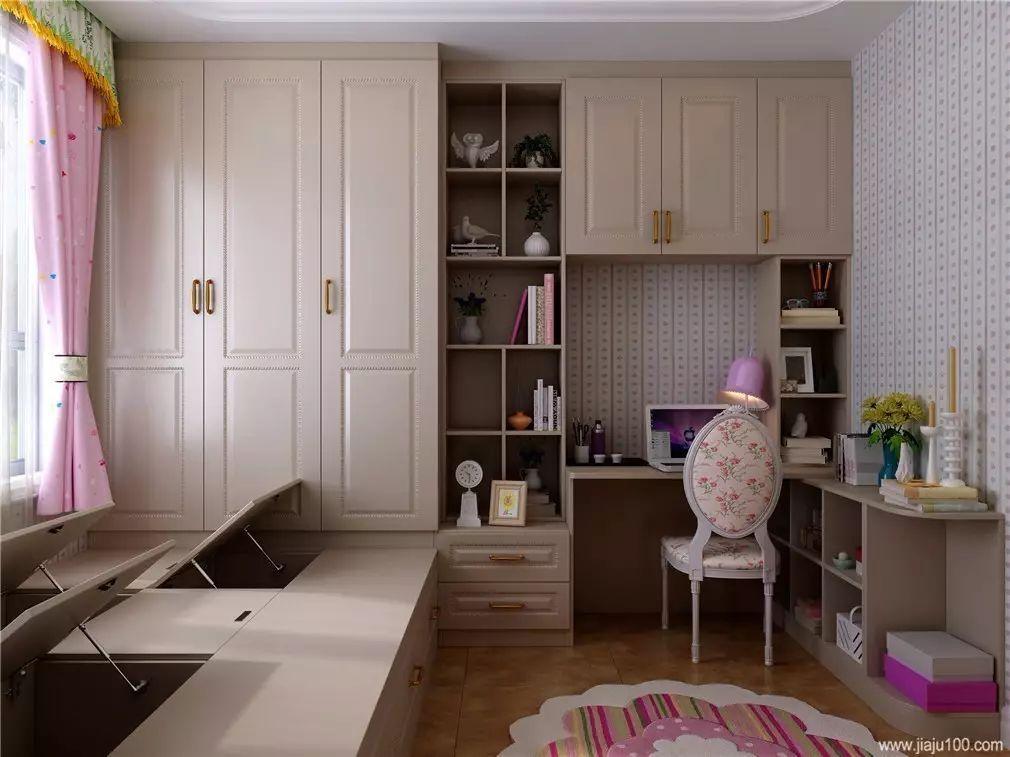 儿童房简约而不失甜美,榻榻米,衣柜,书桌柜一体设计,空间利用最大化