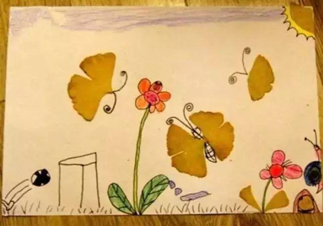 诗词歌赋与绘画摄影作品,银杏树叶拓印,银杏树叶拼贴,银杏果创意手工图片