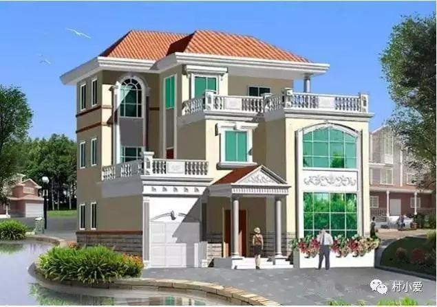 14*13m经典欧式农村别墅,车库露台大飘窗,绝对有面儿!