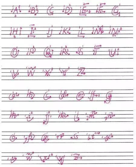 字母的笔顺 写字母时一定要按照一定的笔画顺序书写.图片