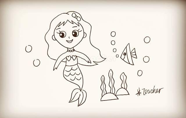 幼儿园简笔画教程:美人鱼,蜗牛,萝卜,蝴蝶