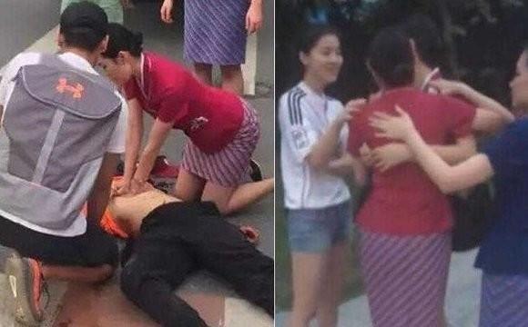 空姐跪地半小时施救受伤男子 因未能救活当场哭泣