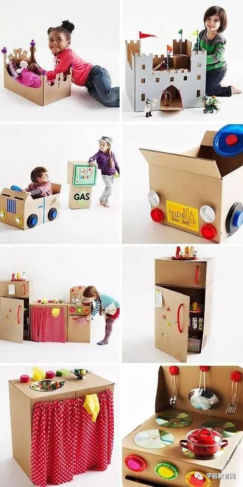 ▽ 丰富多彩的场景,用纸箱制作各种小动物,较薄的纸箱会比较好造型
