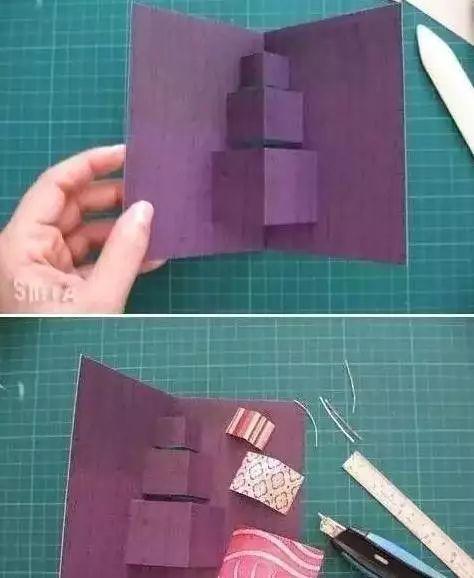 步骤:①先把一张纸平均分成四行六列,②对折,③每行从对折处剪开,每行剪2/3,④ 如图折出立体状-在每个小方格上贴照片,或者由小朋友来画画.
