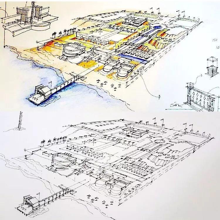 马克笔建筑手绘图效果图单体