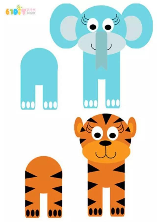 不织布,针线,胶水,眼睛装饰 制作步骤图解: 卷纸筒手工制作可爱的动物