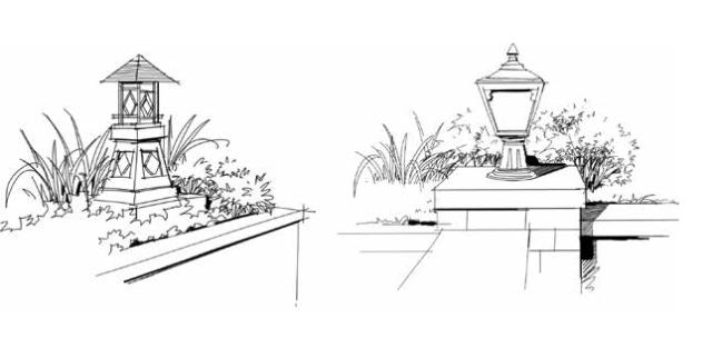 园林小品效果图手绘