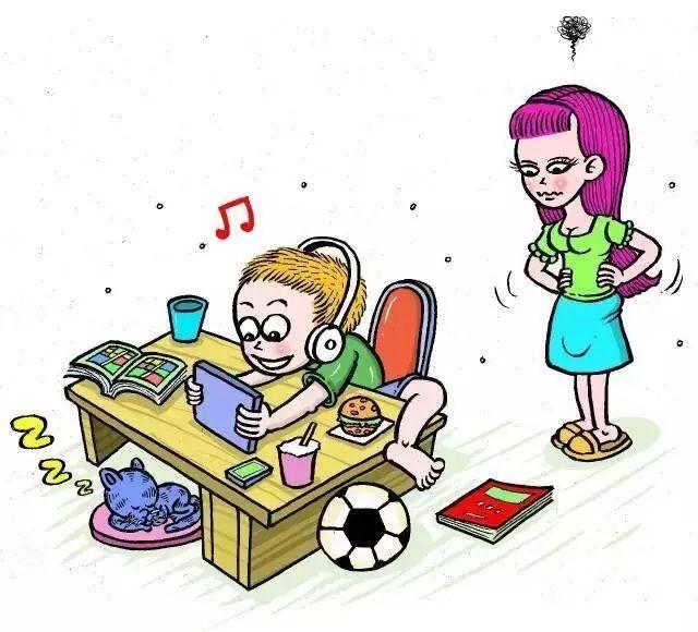 小孩动脑思考卡通