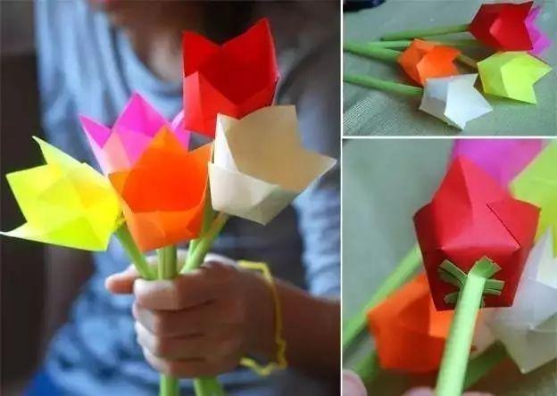制作步骤: ▼做一枝花,需要两张纸,一张正方形做花朵,另一张则是长