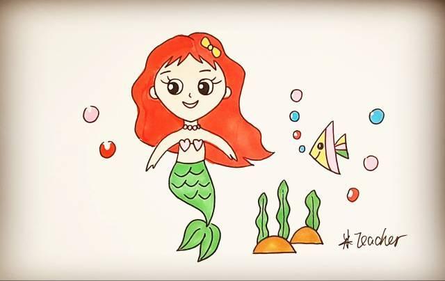 幼儿园简笔画教程 美人鱼,蜗牛,萝卜,蝴蝶