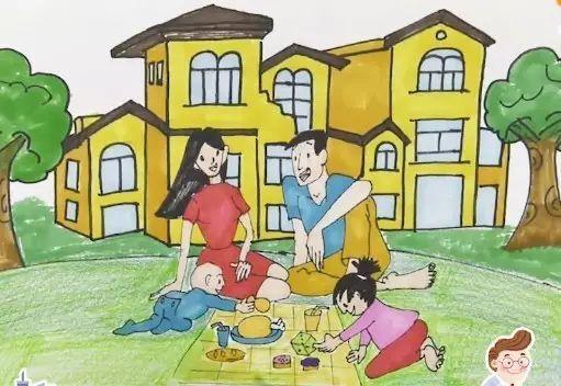 儿童郊游卡通画