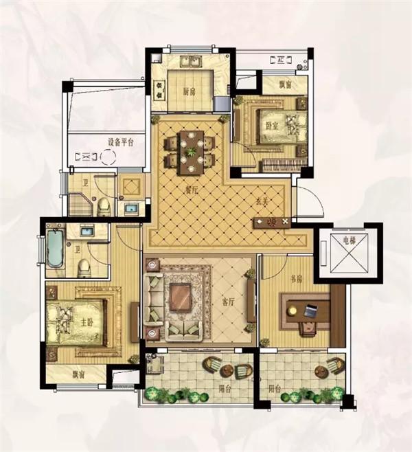 108方三房两厅设计图