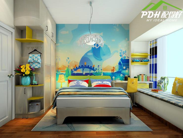 男孩儿童房手绘墙图案设计