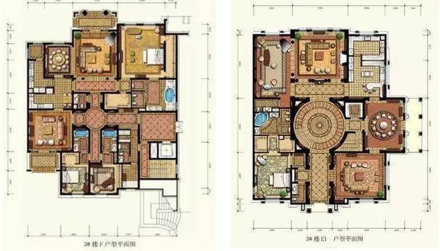 通过圆厅别墅和平层官邸两种户型,打造出奢华大气的空间质感;十字内廊图片