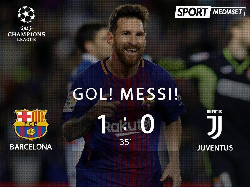 欧冠-梅西生涯首破布冯十指关 巴萨半场1-0尤文