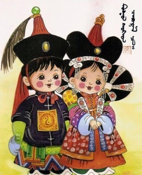 卡通版蒙古族传统服饰图片