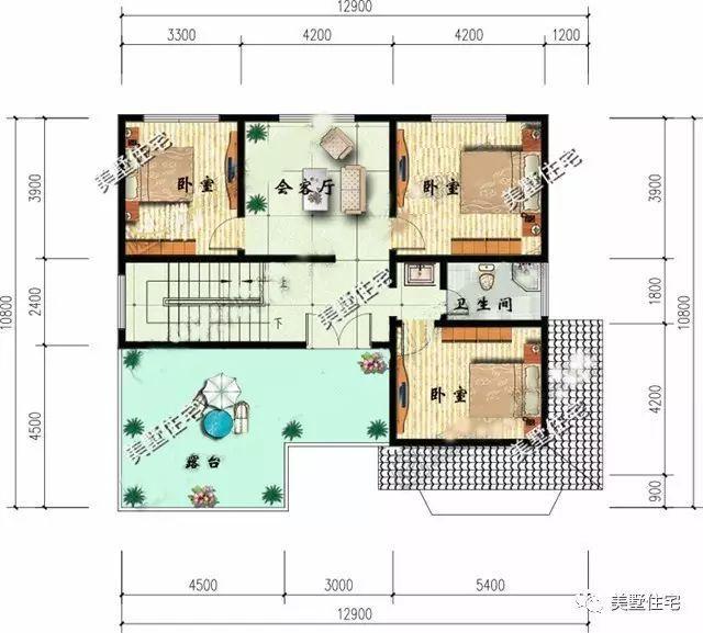二层平面图:客厅,4卧室,卫生间,阳台.