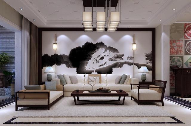 安阳自建别墅:新中式设计,最喜欢客厅的电视背景墙和沙发背景墙了