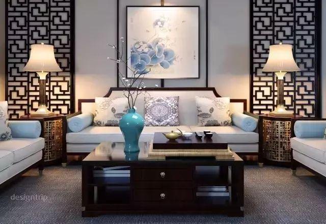 沙发背景墙,醉美不过新中式图片