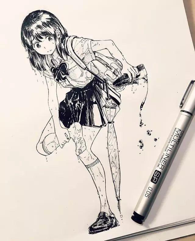 【手绘】针管笔画动漫人物,线条感十足的手稿,每一个人物都生动可爱