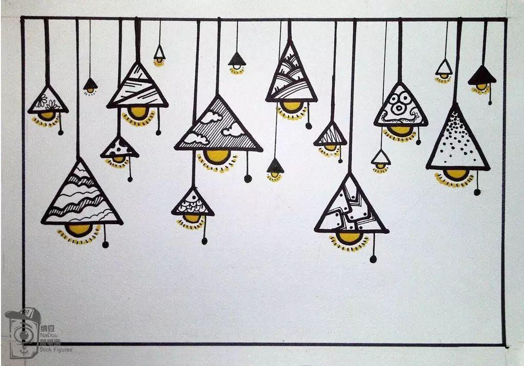 简笔画教程 | 三角形和半圆形组合——吊灯图片