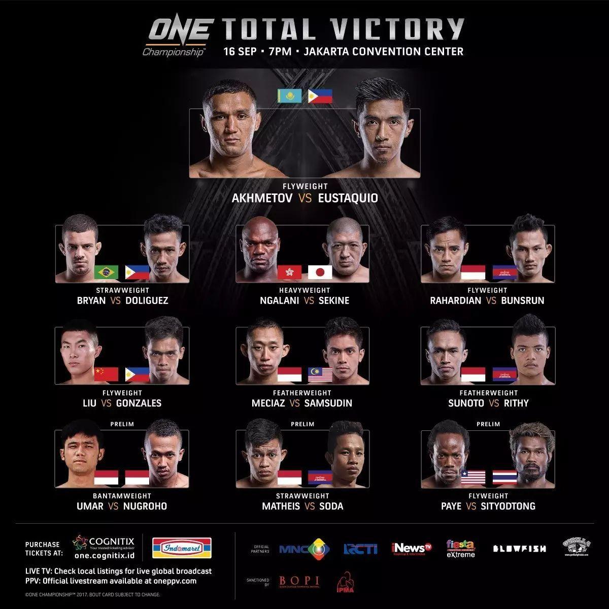 2017年9月16日ONE冠军赛61雅加达站 - 对阵[视频]