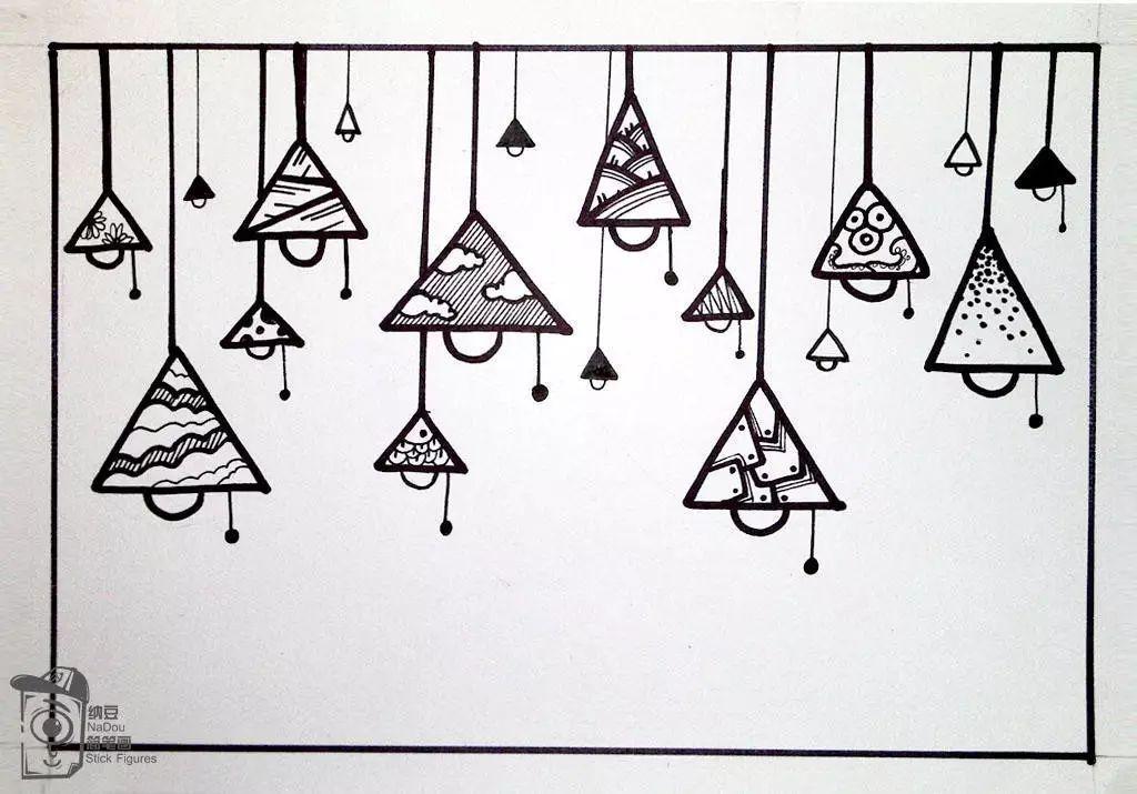 简笔画教程 三角形和半圆形组合 吊灯