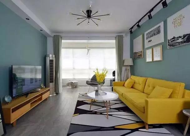 涂料气氛收纳增加了设计壁龛,浅蓝色空间刷墙和单人沙发绘制a涂料客厅.天正显示轴网不增加图片