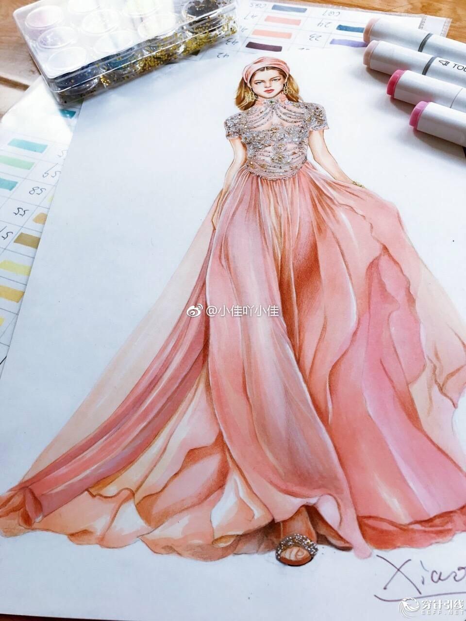 时装手绘 | 马克笔礼服教程