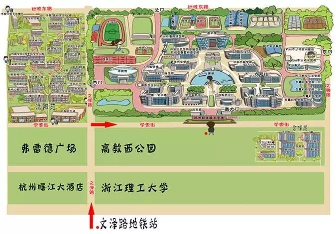 校园q版手绘地图