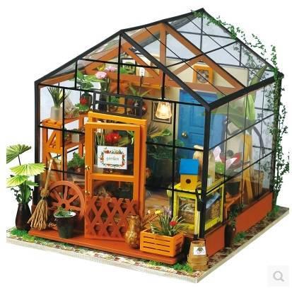 时尚 正文  主团1:若态diy小屋手工制作小房子凯西花房3d立体拼图组装