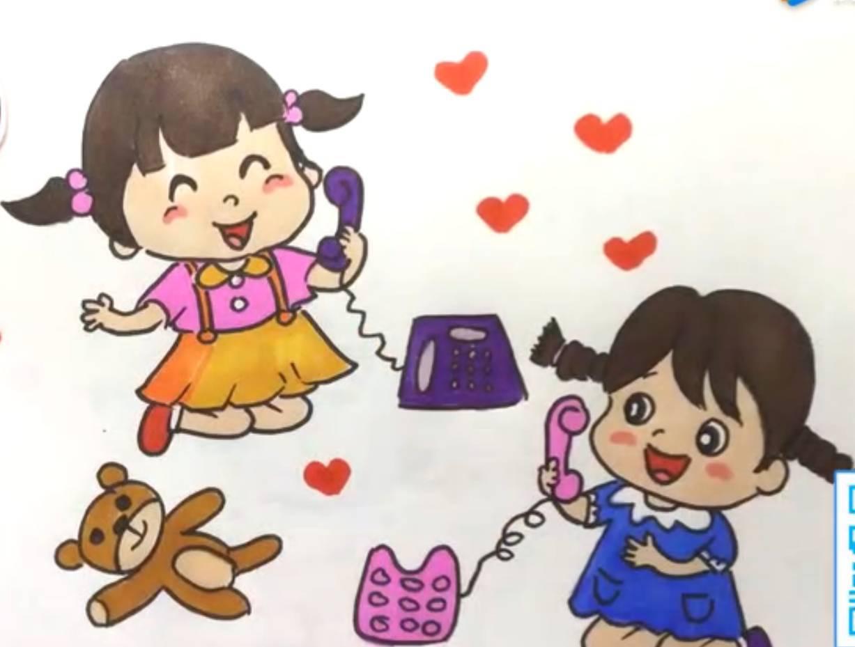 动漫绘画馆-两个小娃娃正在打电话图片