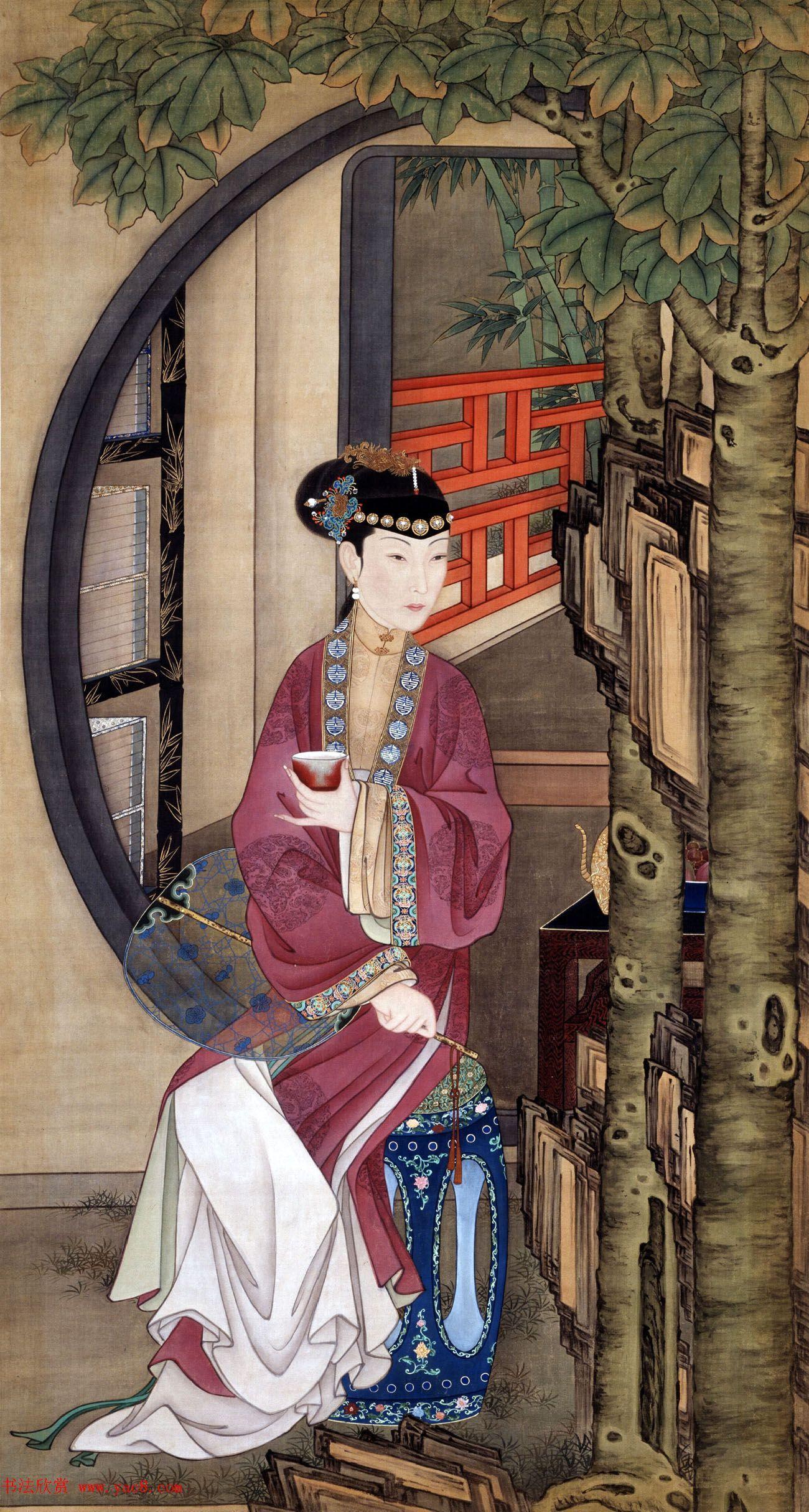 工笔重彩人物画欣赏:故宫十二美人动起来!