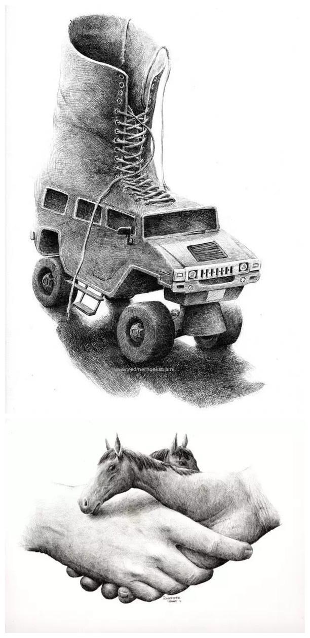 创意素描之——汽车滑冰鞋与手与马儿的创意结合图片