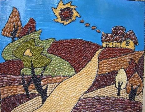 幼儿园手工创意 布贴画 豆子贴画 毛线画 纸盘画等图片