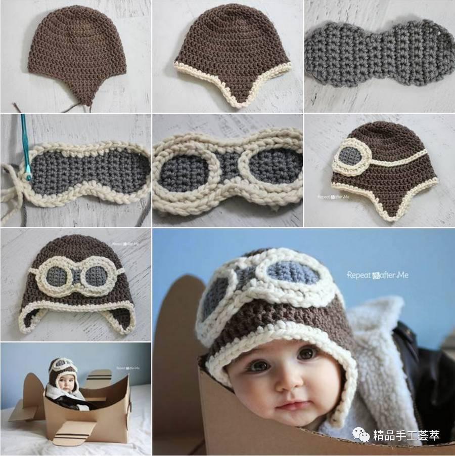 一些钩针护耳宝宝帽子,有钩法的分拆思路