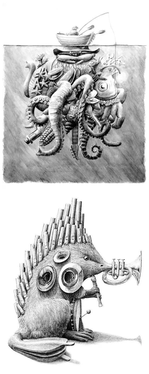 创意素描之——冰山一角与吹喇叭的刺猬图片