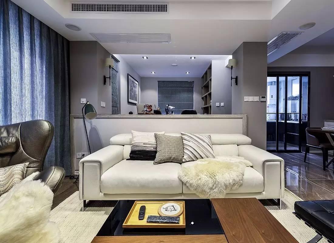 120㎡简约三房,矮墙沙发当隔断,半开放的书房真漂亮!图片