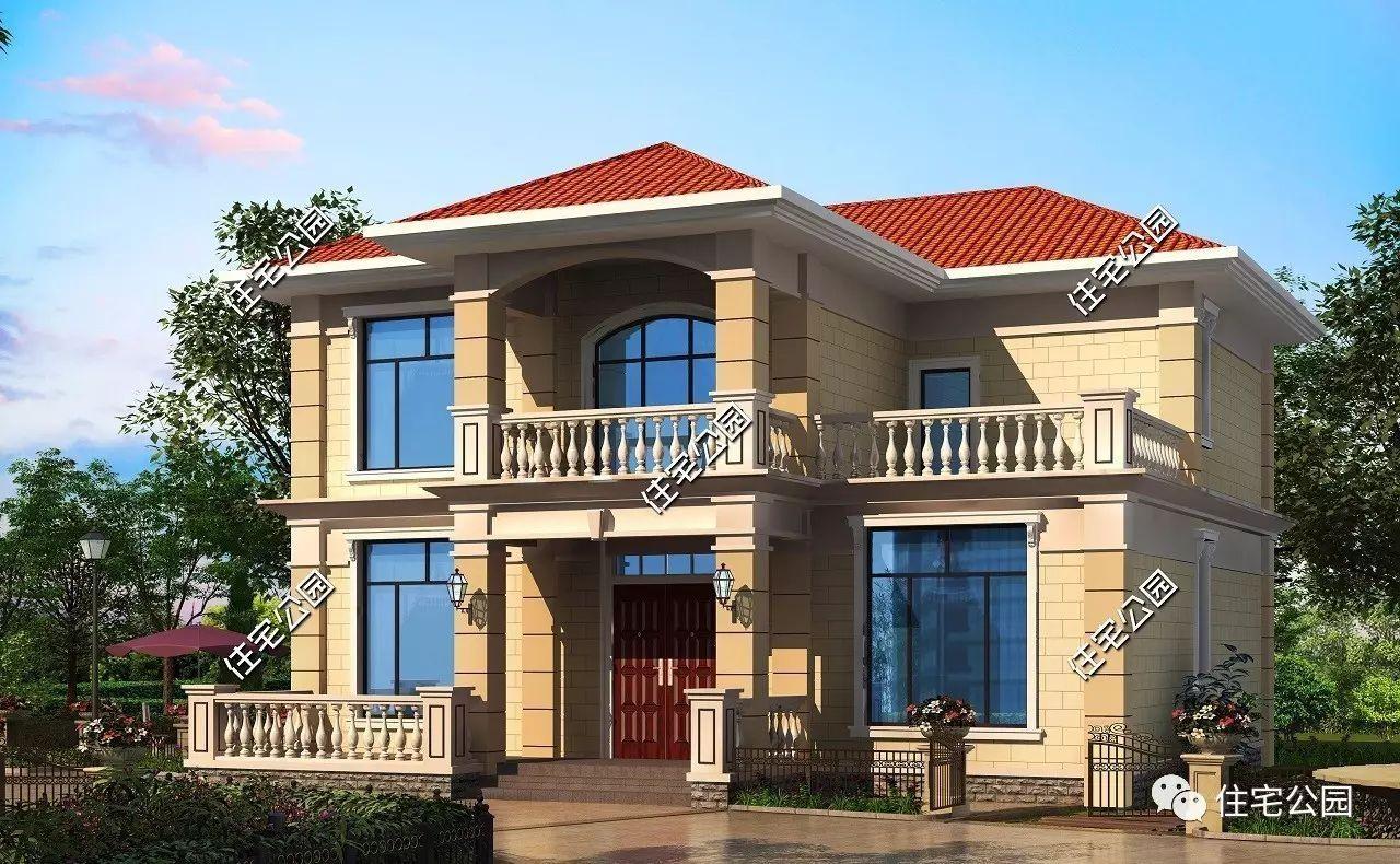 农村自建别墅设计图,12x10米二层农村小别墅,经济性强
