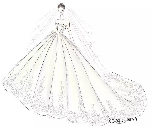 晚宴新娘手绘设计图