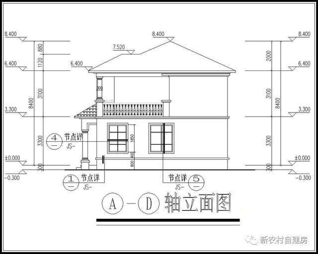20万内的农村私人别墅设计图,14x9米,含平面图和立面图