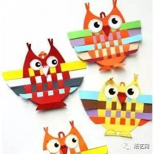 用编织的方法来制作儿童手工小猫头鹰装饰教程