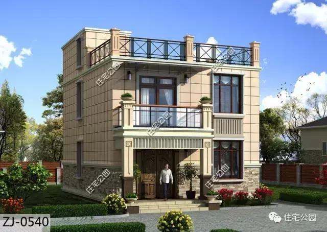 农村自建房,平屋顶设计最好,8x14米3层别墅户型图!