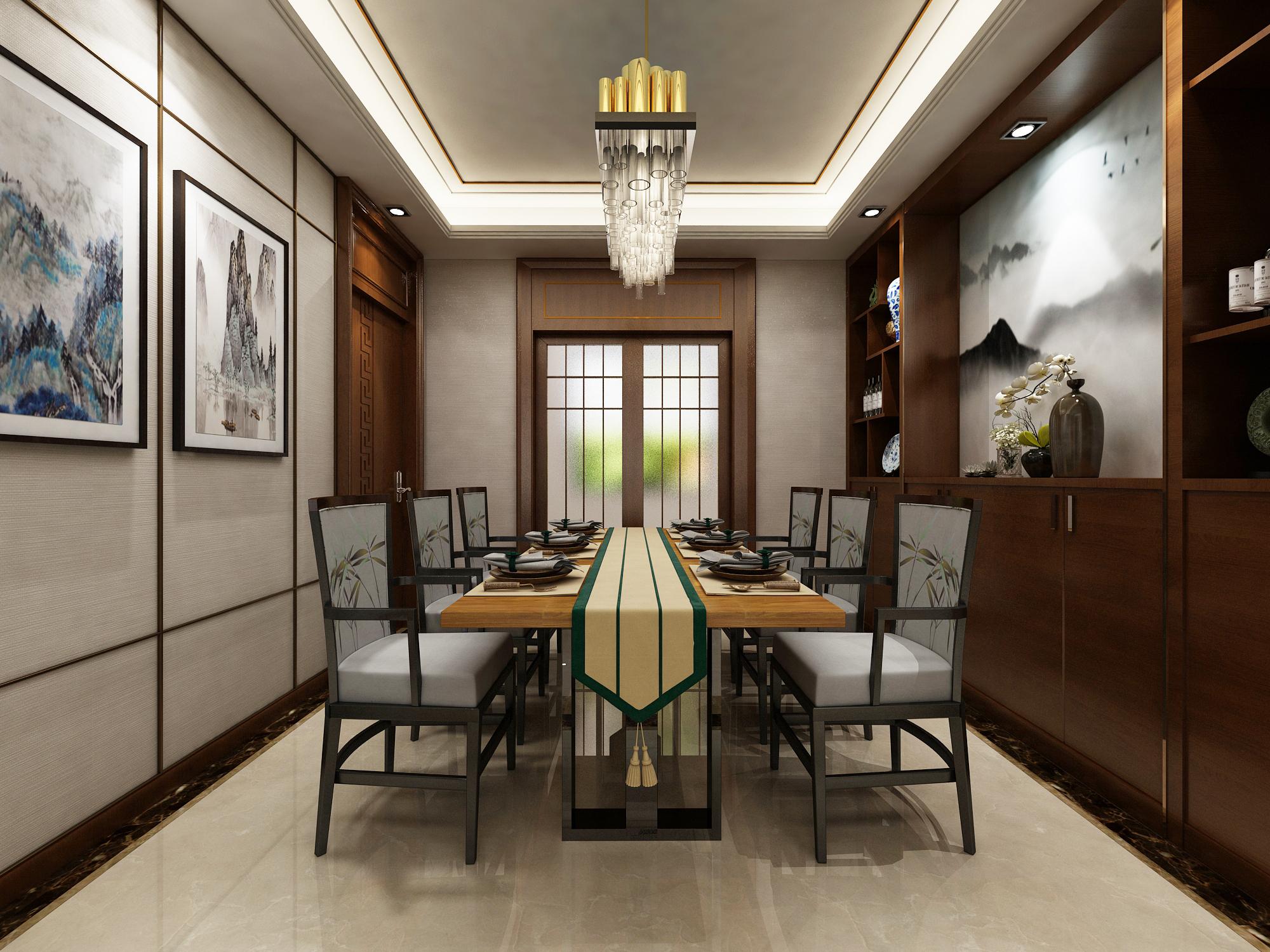 客厅去掉了复杂的中式背景墙,采用明亮大气石材和水墨画结合的形式.
