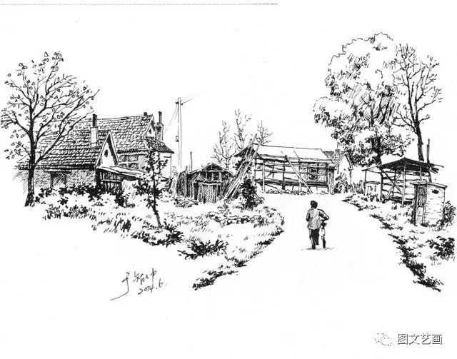 风景素描(速写),深刻描绘出老家的风貌