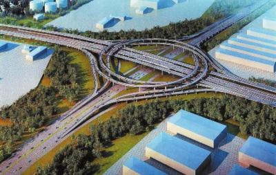城北主干道与吐乌大高速交叉口全互通立交效果图(施工单位供图)图片