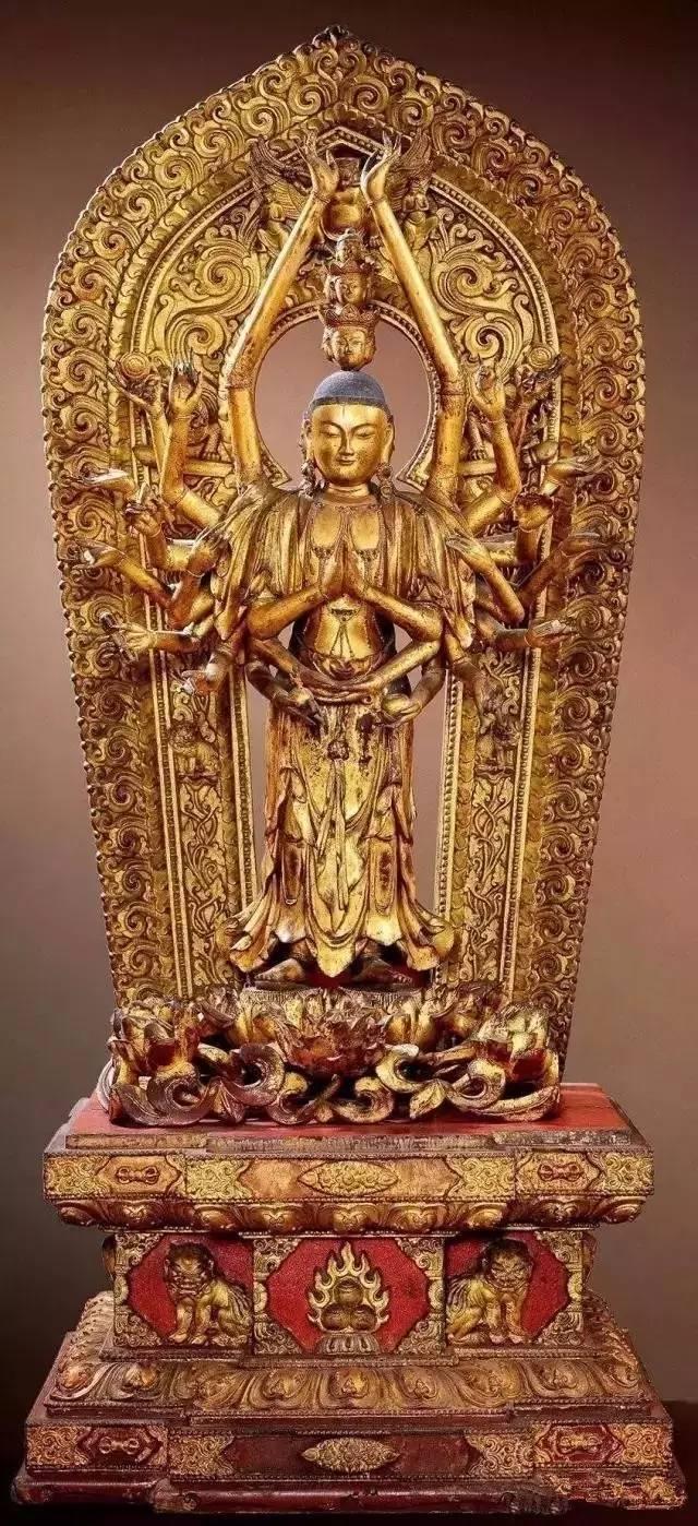 辽金彩绘木雕南海观音像,95×65英寸,纳尔逊-阿特金斯博物馆