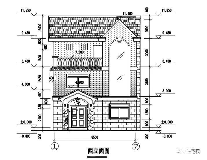 55x11.8三层农村自建房,小面宽带屋顶花园