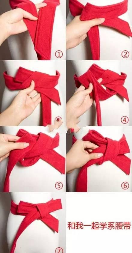 大衣腰带系法图解--------背后蝴蝶结型